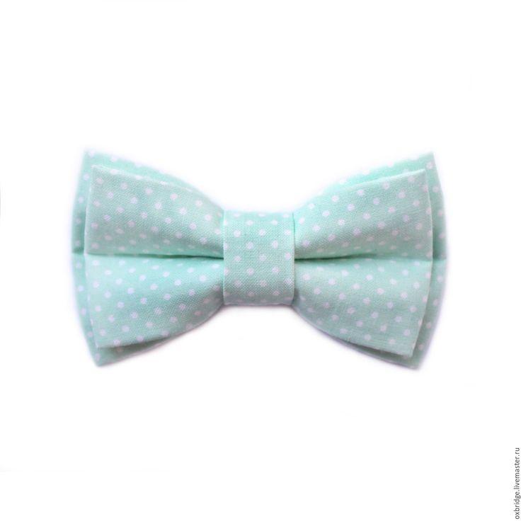 Купить Галстук бабочка Ледяная мята в горошек / Бабочка светло-голубая - галстук бабочка