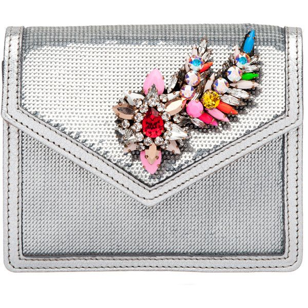 Shourouk Silver Neon Mini Sequin Clutch (19 405 ZAR) ❤ liked on Polyvore featuring bags, handbags, clutches, purses, neon purse, miniature purse, sequin purse, white clutches and white handbags