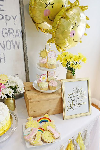 you are my sunshine birthday party decor decoration balloons first birthday theme cookies cake dessert table