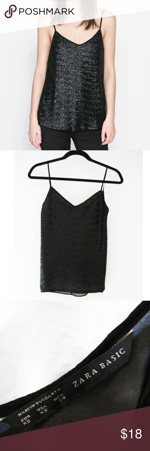 """Zara Black Sequin V-Neck Sheer Back Cami XS Black sequin v-neck camisole top featuring a sheer back. Pair it with trousers and a jacket for a played down look or dress it up with a skirt and accessories for a party look. Excellent condition-only worn once. Smoke/pet-free home. Feel free to ask questions! All images are my own except for the first photo. Credited to Zara online image. Measurements: Front Length (shoulder to hem): 23 1/2"""" approx. Center Front Length: 16""""  Bust: 33"""" approx…"""