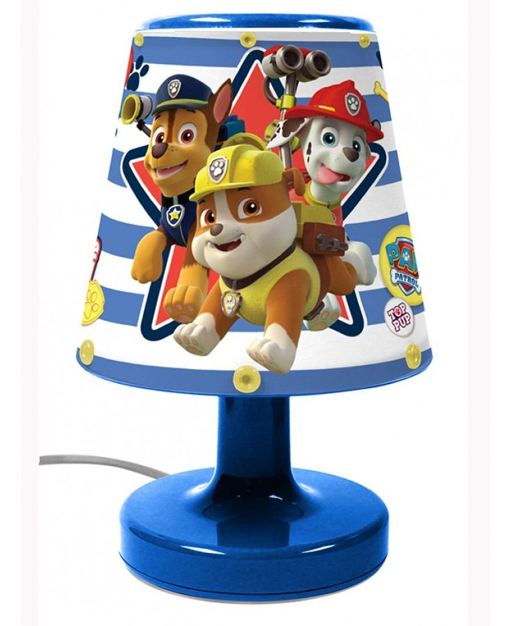 Put the finishing touch to your Paw Patrol themed bedroom with this fantastic Paw Patrol Bedside Lamp! The lamp is very safe for little ones to use and stays cool to touch even when left on for hours. All the components of the lamp are fully enclosed to stop prying fingers from touching any of the internal parts. The lamp features adorable images of the Paw Patrol gang on the shade with a blue base.