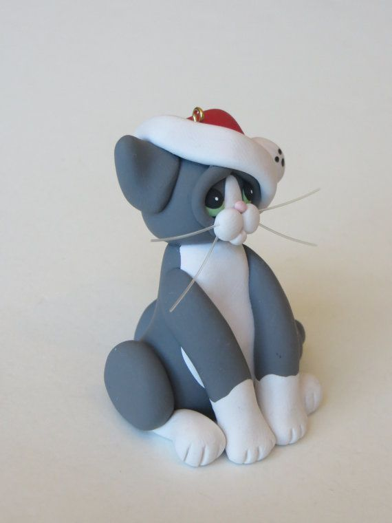 Smoking bianco grigio gatto natale ornamento di HeartOfClayGirl