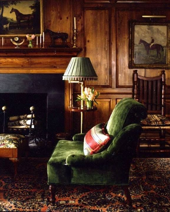 Green sofa and boiserie