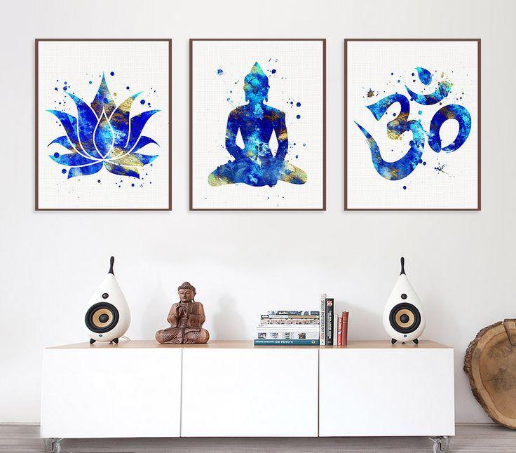 Set of 3 Prints Lotus Buddha Om Symbol Yoga by MiaoMiaoDesign