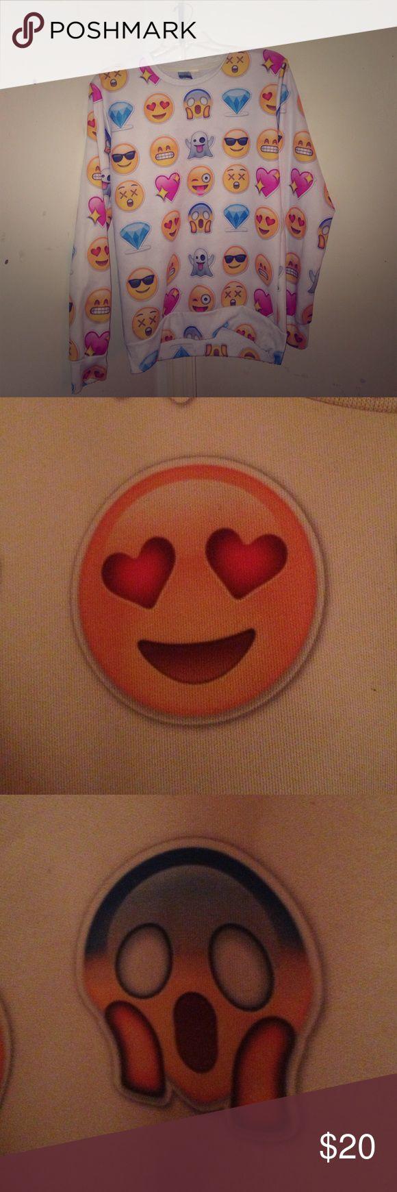 Emoji sweatshirt Diamond emoji , heart eyes emoji, dead emoji , ghost emoji , shocked emoji , Smiling emoji heart emoji Gugu Tops Sweatshirts & Hoodies