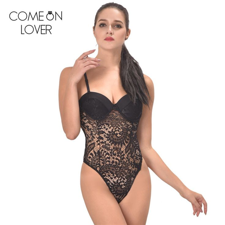 RE80285 Comeonlover New arrival sexy floral embroidery lady teddy sheer sexy bodysuit Plus size push up cup lace teddy lingerie