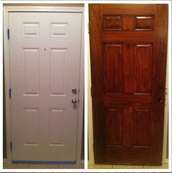 Gel Stain did wonders for this plain white door. General Finishes Gel Stain is available at Rockler & Woodcraft Stores.