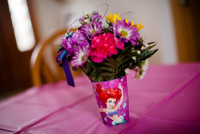 "Flowers in cups. Photo 1 of 61: Disney Princess / Birthday ""Cami's Disney Princess 4th Birthday Party"" 