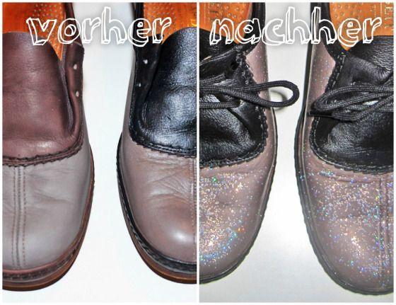 Refashion: Vintage-Schnürer zu Glitzer-Schuhen | Ninutschkanns.com #glitter #sparkle #paintleather
