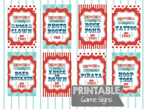 INSTANT DOWNLOAD Printable Carnival Party Game Signs