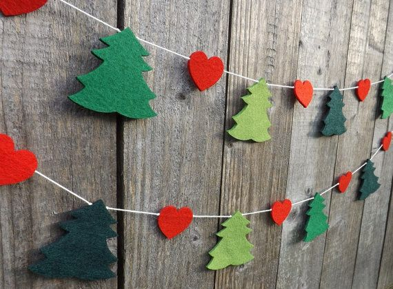 Pine tree heart garland, Tree and heart bunting, Christmas garland, Felt Trees, Red and Green Christmas Bunting, Christmas tree, Love Heart,