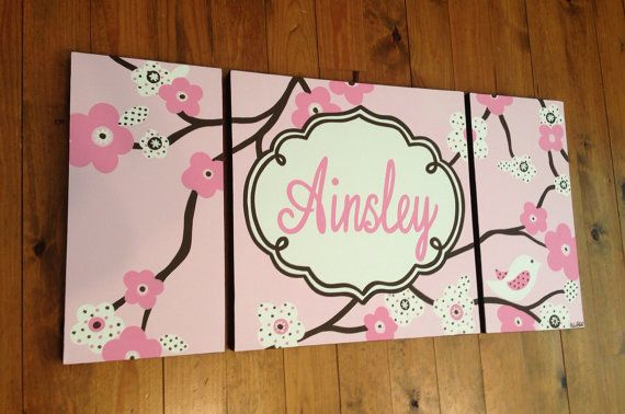 large girls nursery art- personalized triptych painting- name monogram initials- hand painted- M2M decor- pink brown flowers