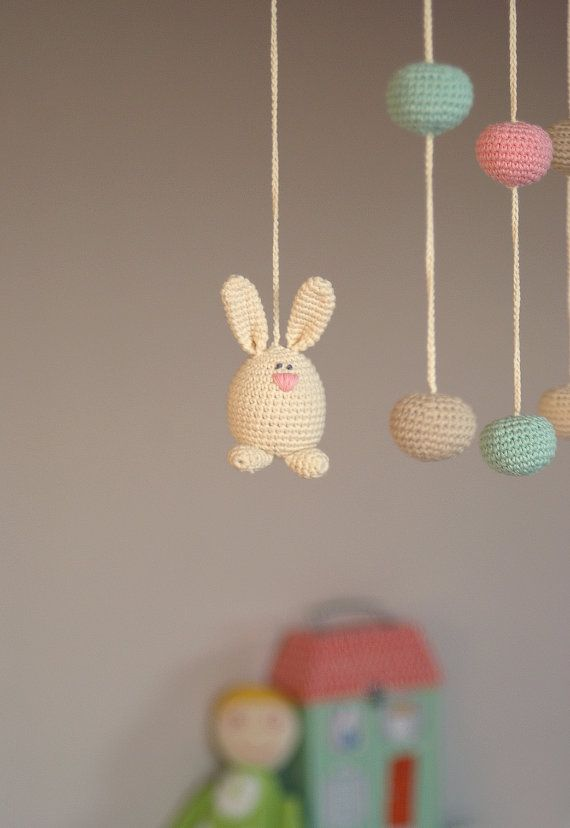 Crochet Bunny/Ball Mobile - Baby ivory/pink/mint green/beige mobile - Crochet Hanging Crib Mobile-Kids room decoration-Perfect gift for baby