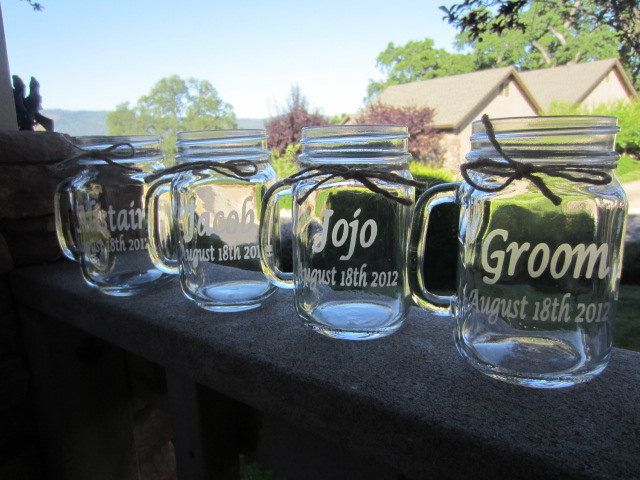 Mason Jars Mugs Wedding Bridal Party Gifts by EtchedExpressions