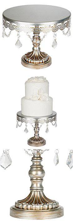 Wedding Cake Pedestals. Sophia Collection Antique Silver 10 Inch Cake Stand with Crystals, Round Metal Wedding Birthday Dessert Cupcake Pedestal Display.  #wedding #cake #pedestals #weddingcake #cakepedestals