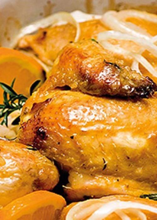 Frango no forno com mostarda, laranja e mel