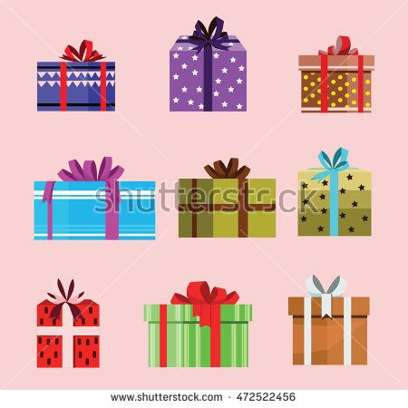 gift box birthday set present with different pattern. vector illustration 110