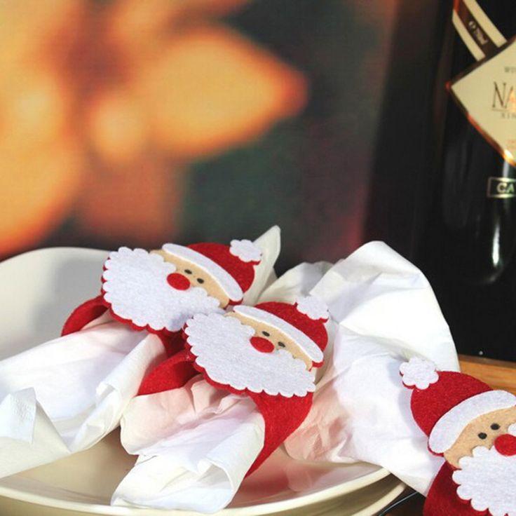 Encontrar Más Pendant & Drop Adornos Información acerca de Hoomall Decoraciones de Mesa de Navidad Servilletero Titular Cocina Decoración de Navidad Decoración Para El Hogar Regalo de Año Nuevo 5 Unids, alta calidad decorations for home, China decoration christmas Proveedores, barato decorated napkins de Handicraft Store en Aliexpress.com