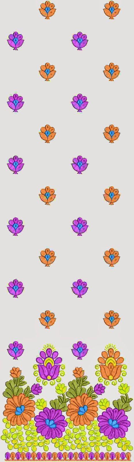 Pienk en oranje kleur Kurti rok