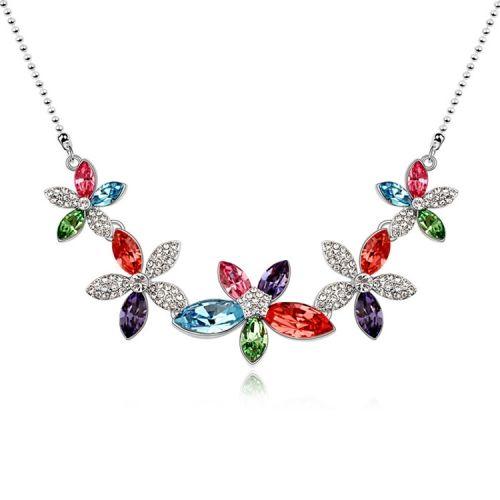 [$19.32] Austrian Crystal Necklace - Elegant Flower (Colour: Color)