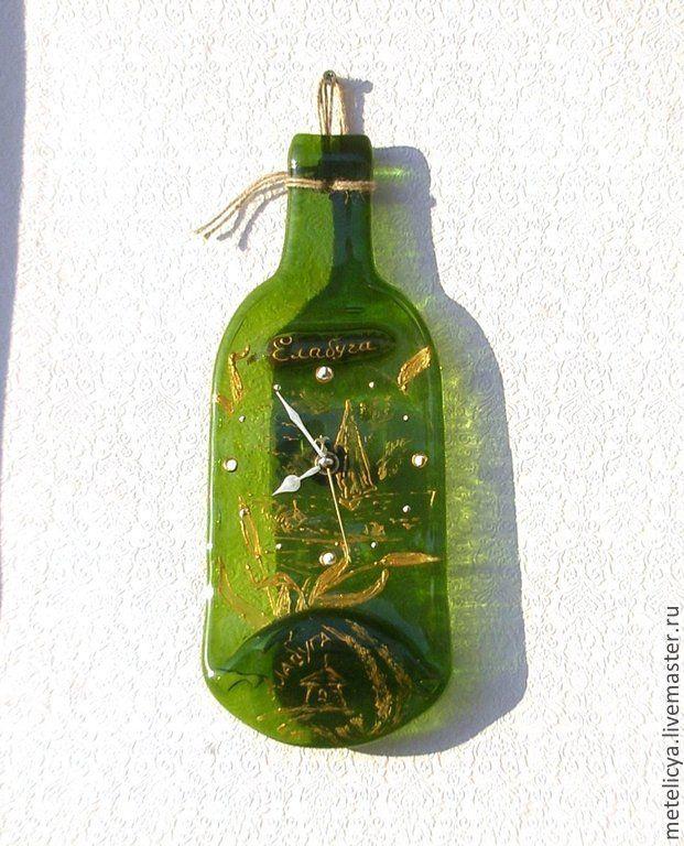 Купить Часы настенные Елабуга - зелёный, елабуга, бутылочка, часы настенные, часы из стекла
