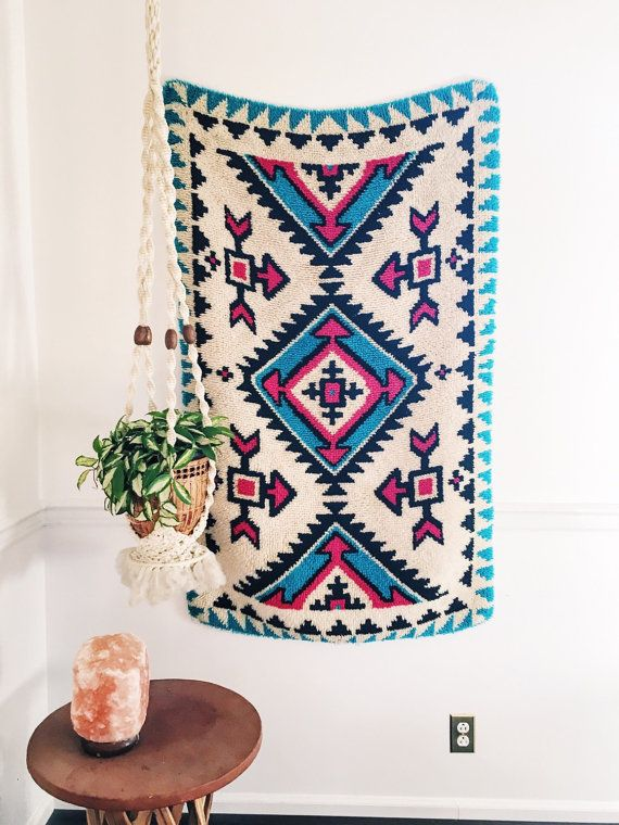 Tribal Vintage Latch Hook Rug FREE SHIPPING by ShopVintageSparkle
