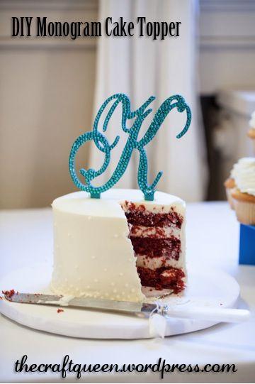 DIY Wedding Monogram Cake Topper
