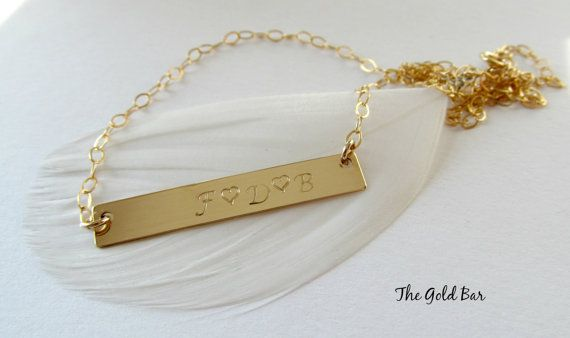 Personalized Nameplate Necklace/ Long Gold Bar by TheGoldBar