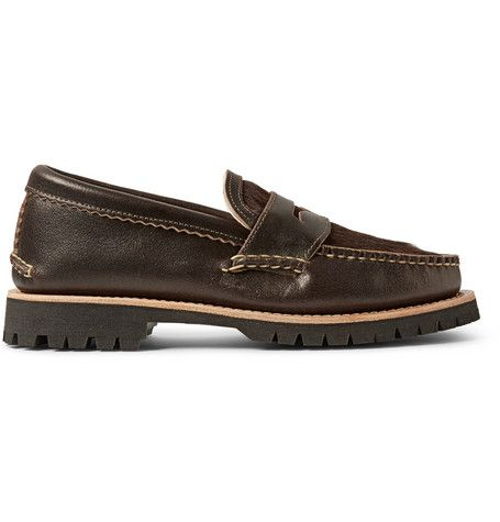 Yuketen Cow Hair and Waxed-Leather Penny Loafers | MR PORTER