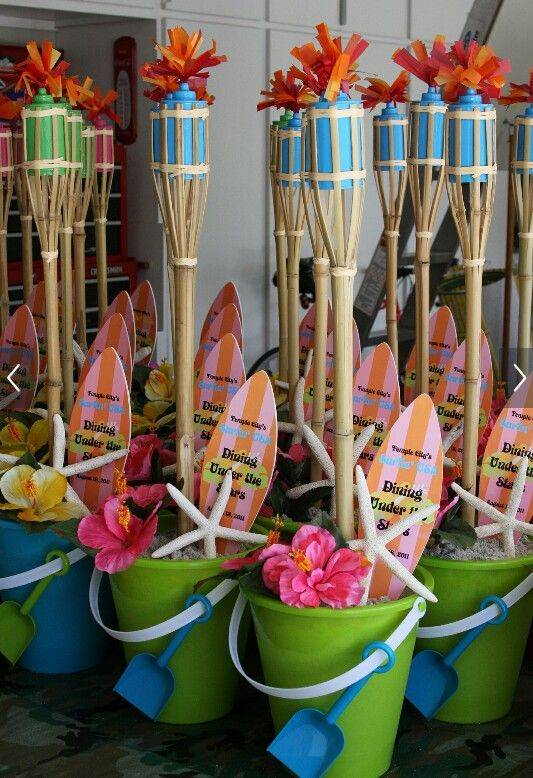 Pool Party Centerpiece Ideas pool party centerpieces ideas summer pool party via karas party ideas karaspartyideas Find This Pin And More On Fiesta Hawaiana Decoracin Luau Party Decorations