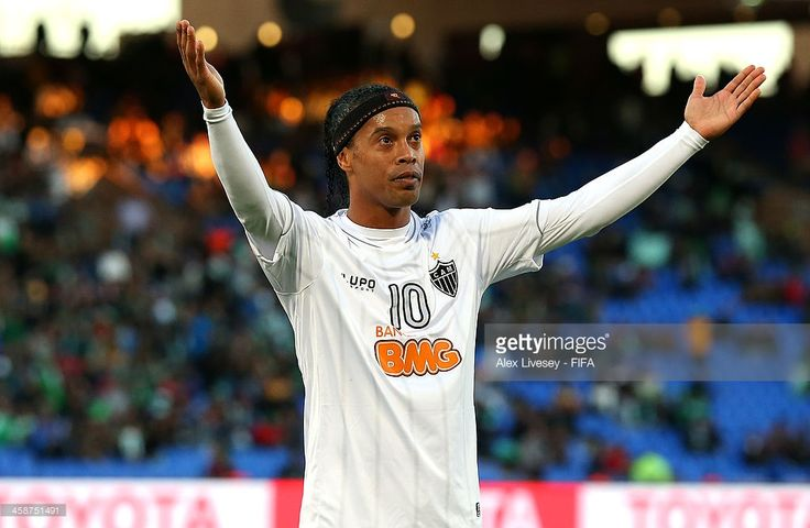 Ronaldinho of Atletico Mineiro celebrates after scoring his goal during the FIFA Club World Cup 3rd place match between Guangzhou Evergrande FC and Atletico Mineiro at Marrakech Stadium on December 21, 2013 in Marrakech, Morocco.
