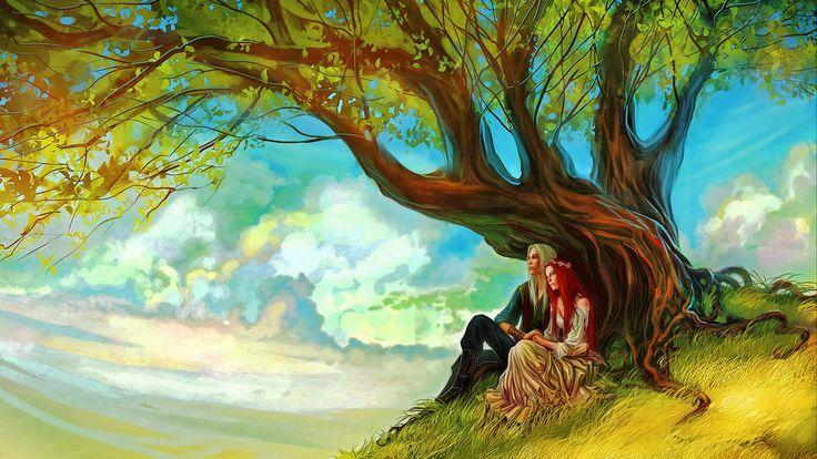 Fantaisie Amour  Fantaisie Arbre Elfe Fond d'écran