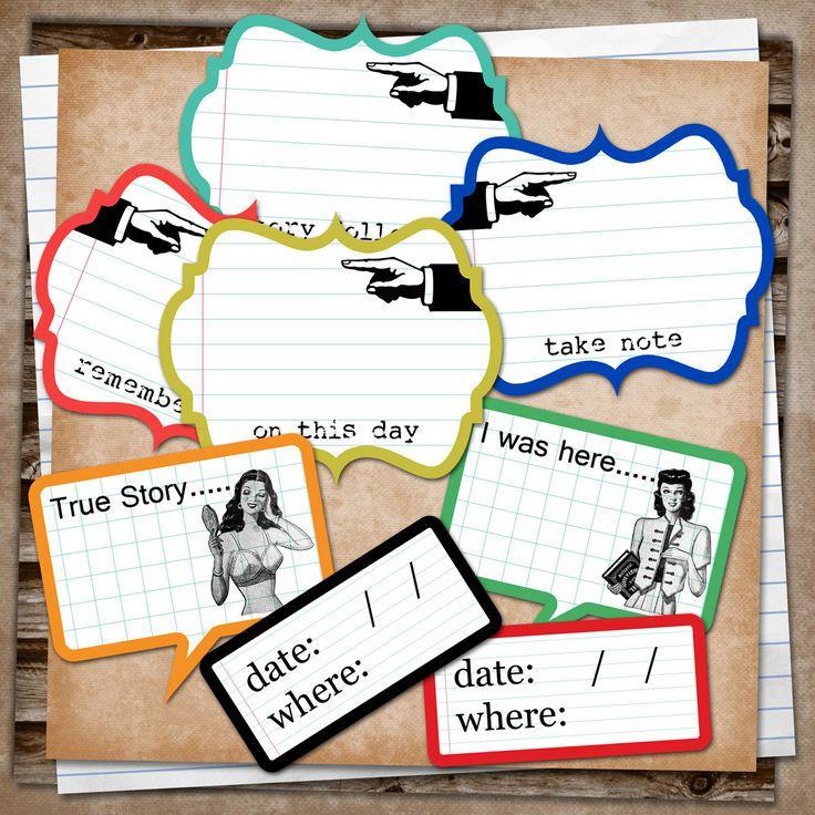 Free Smash Printable - Journal and Date Tags