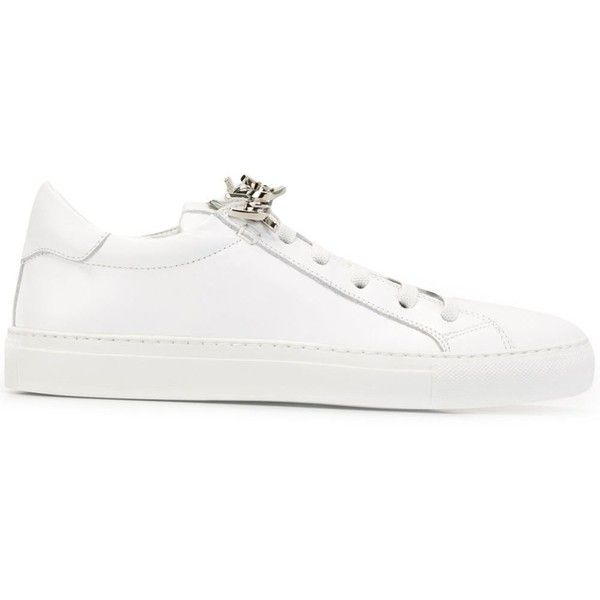 Dsquared2 'Tennis Club' Sneakers featuring polyvore, women's fashion, shoes, sneakers, white tennis sneakers, white lace up shoes, white tennis shoes, lace up sneakers and white leather shoes