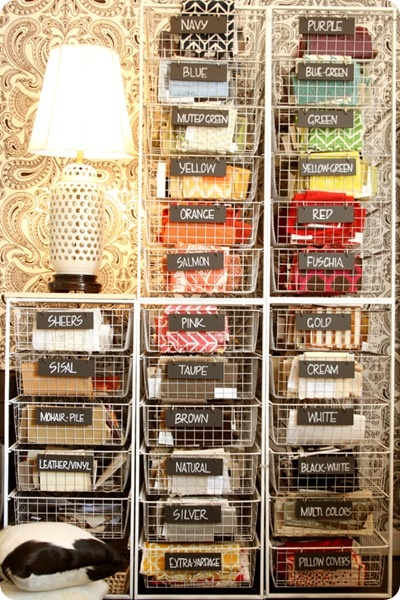 Fabric storage: Fabrics Storage, Fabrics Organizations, Organizations Ideas, Crafts Rooms, Fabrics Samples, Color, Wire Baskets, Sewing Rooms, Storage Ideas