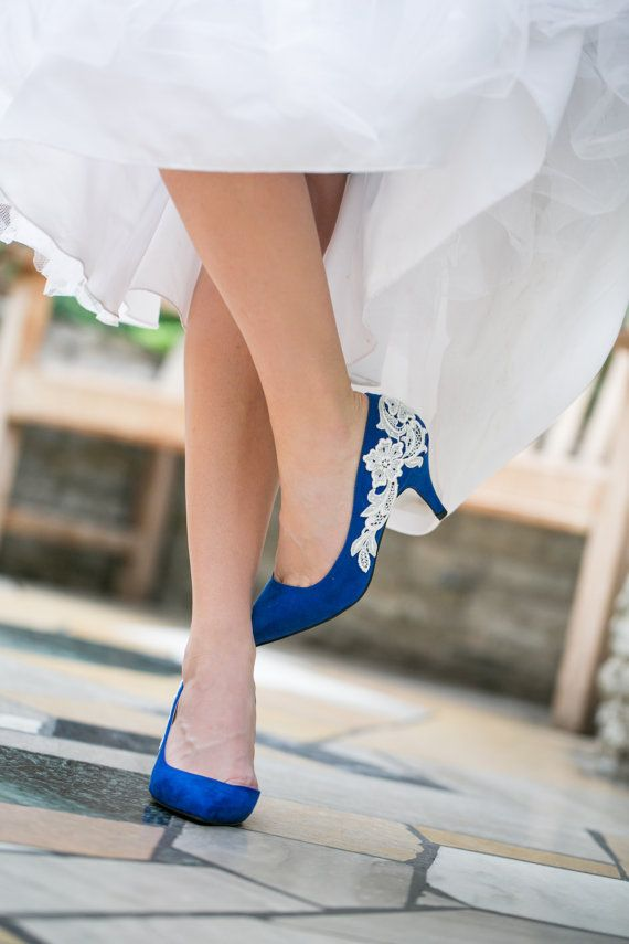 bridal shoes cobalt blue wedding shoes bridesmaid gift wedding heels lace heels with ivory lace us size 55