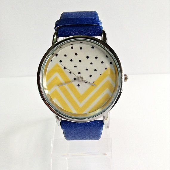 Yellow Chevron and Polka Dots Watch Vintage Style by FreeForme, $10.00  YESSSS MA'AM www.sisterswithbeauty.com Approved