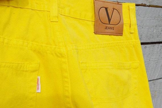 Vintage VALENTINO High waist Yellow Jeans by UnaCamiciaDiSeta, $80.00