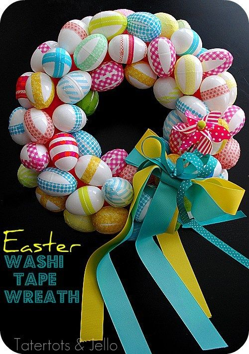 handcrafted Easter wreath ... bright and color .... plastic eggs with washi tape wraps ... good use for extra rolls of tape ...