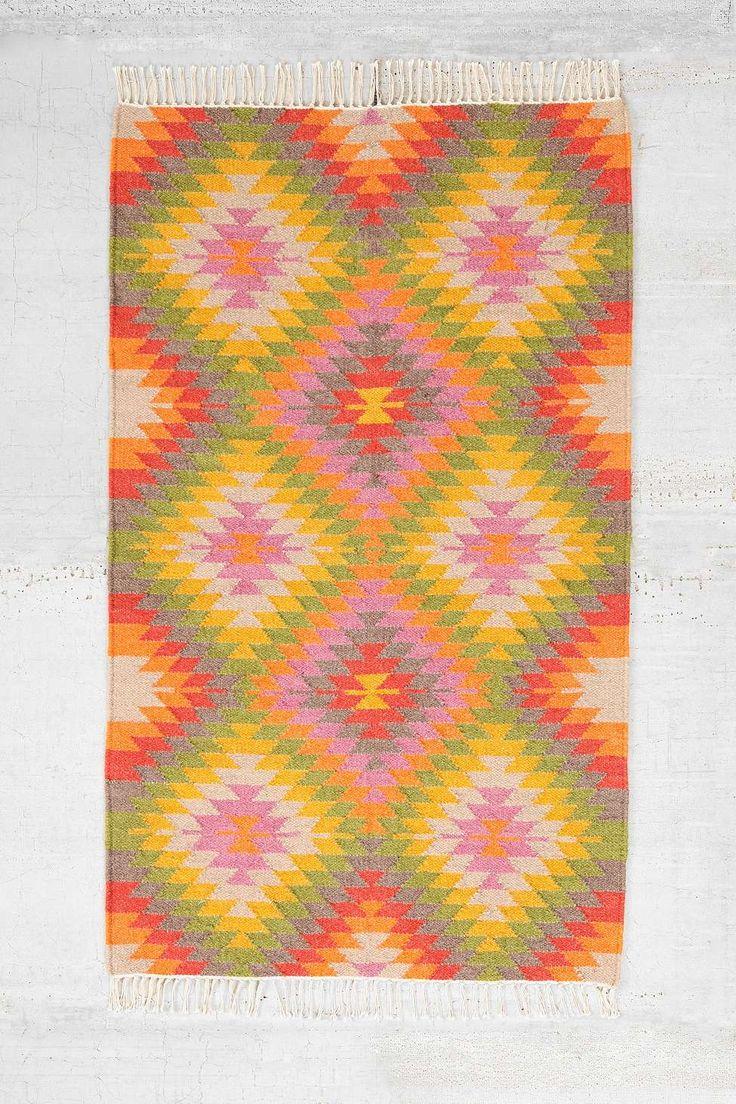 Tapis Kilim 3x5 tissé multicolore