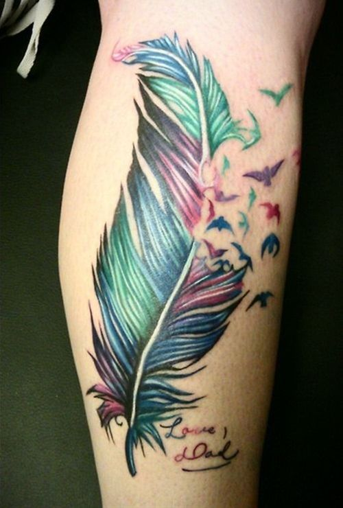 Colorful Feather Tattoo on Leg