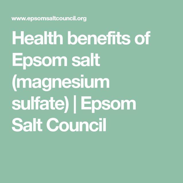 Health benefits of Epsom salt (magnesium sulfate) | Epsom Salt Council