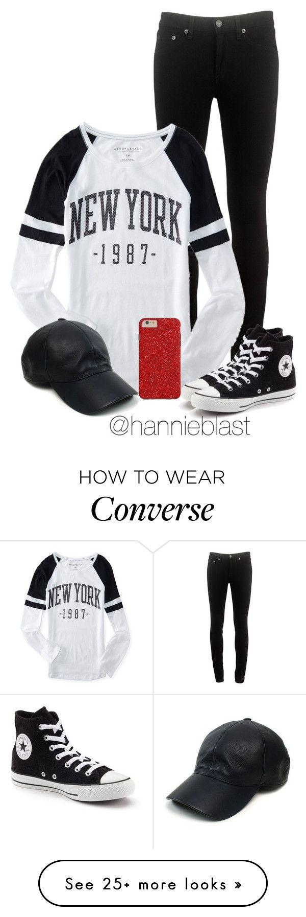 """Black and White + Red Sparkle"" by hannieblast on Polyvore featuring rag & bone, Aéropostale, Converse and Vianel"