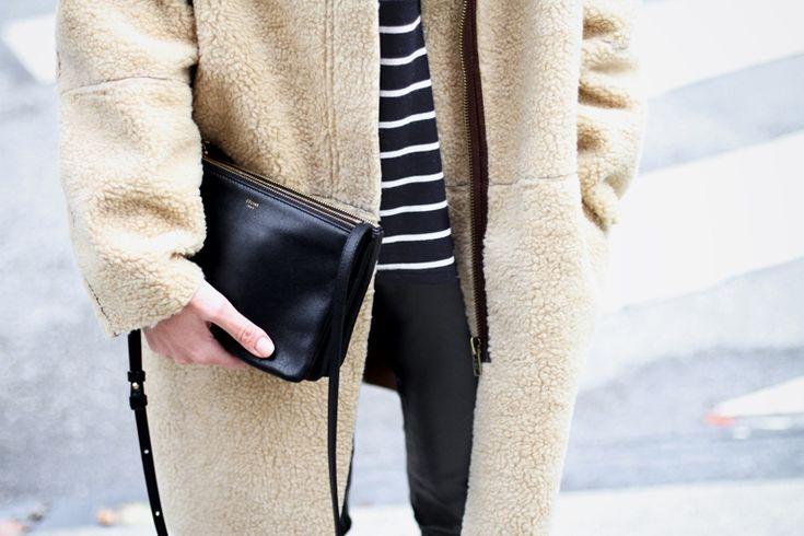 Celine trio bag / Teddy coat | WW Street style | Pinterest ...