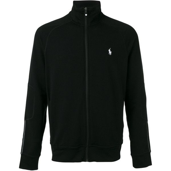 Polo Ralph Lauren logo embroidered zipped sweatshirt ($147) ❤ liked on Polyvore featuring men's fashion, men's clothing, men's activewear, men's activewear tops and polo ralph lauren