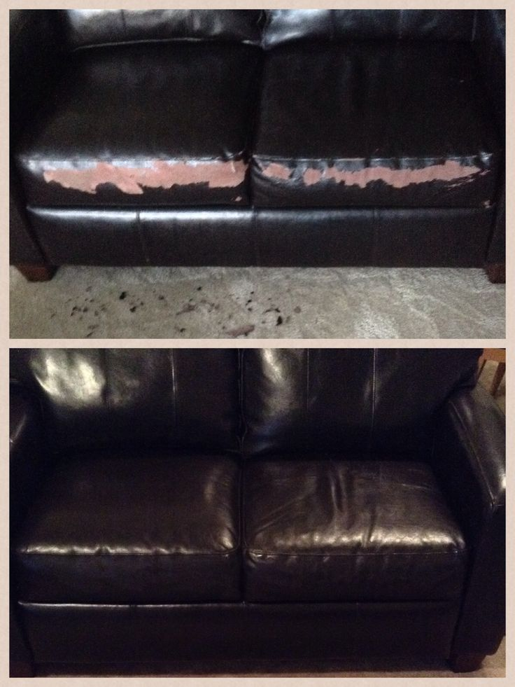 Quick Flaky leather couch fix. Get a chip of the peeling leather, go to