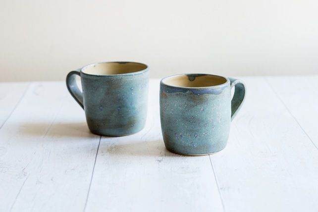 Frosty Blue Stoneware Mug - Ready to Ship £16.00
