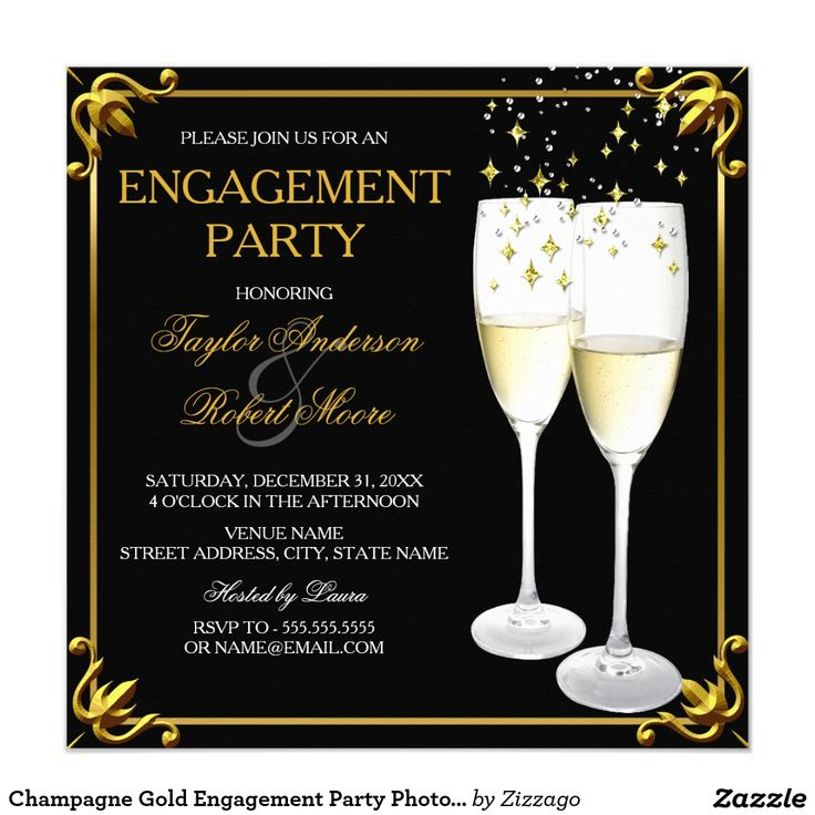 Champagne Gold Engagement Party Photo Invitation
