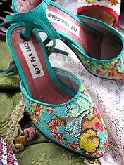 Handsome, beaded shoes at Little Penang! A necessity for all nyonya women.