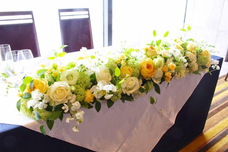 # Vress et Rose # Wedding # yellow # orange # yellow orange# table coordinate#main table # natural # Flower # Bridal # ブレスエットロゼ #ウエディング#イエロー#オレンジ#シンプル # メインテーブル #テーブルコーディネート # ナチュラル# ブライダル#結婚式